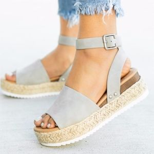 Shoes - HELLO SPRING Comfy Wedges - GREY
